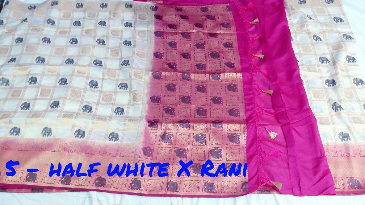 Bonga silk elephant rich pallu contrast with contrast plain with weaving design