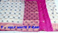 Bonga silk elephant rich pallu contrast with contrast plain with weaving design