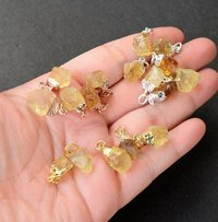 Trendy Gold Electroplated Cap Natural Citrine Gemstone Rough Pendant