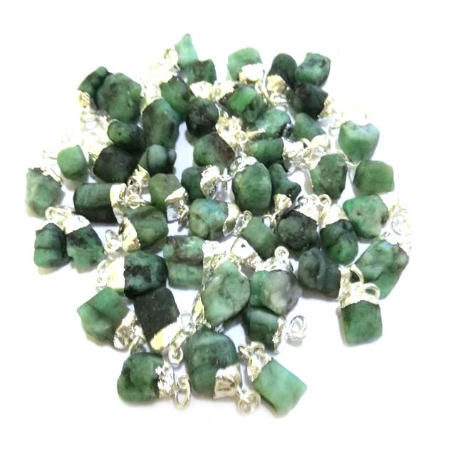 Emerald Raw Gold Cap Gemstone Pendant