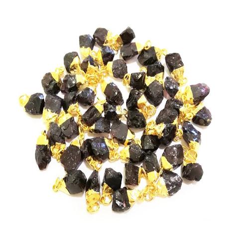 Trendy Gold Electroplated Cap Red Garnet Gemstone Rough Pendant - January Birthstone Pendant