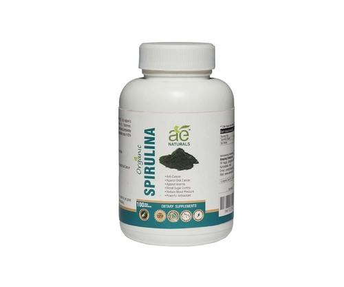 AE NATURALS Pure Organic Spirulina 800Mg 100 Veg Capsules