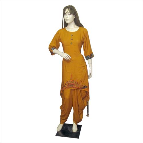 Yellow Designer Dhoti Salwar Suit