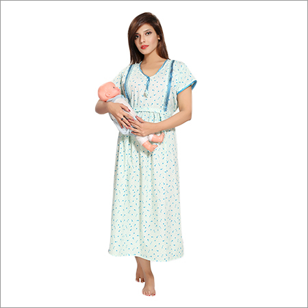 Ladies Cotton Feeding Fancy Nighty