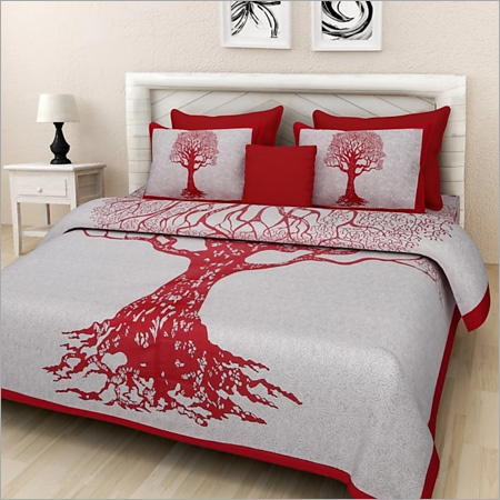 Tree Print Cotton Double Bedsheet