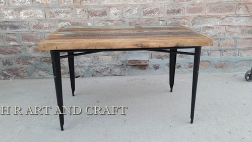 Reclaimed top with metal stand