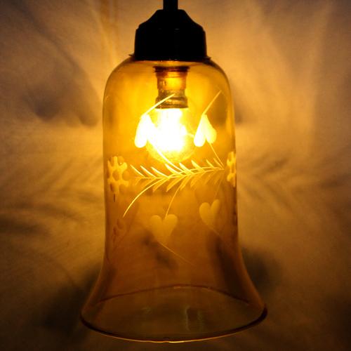 Yellow Cutting Glass Hanging Light