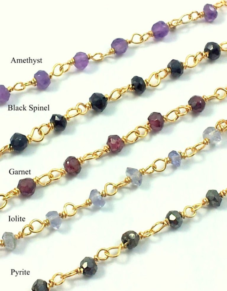 Amethyst 3-4mm Faceted Roundel Beaded Chain - Gold Plated Wire Rosary Chain