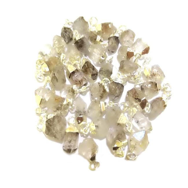 Raw Herkimer Diamond Gold Cap Pendant