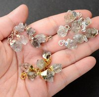 Herkimer Diamond Gold Electroplated Cap Natural Gemstone Rough Pendant