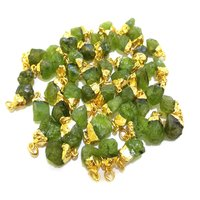 Natural Peridot Gold Electroplated Cap Rough Gemstone Pendant - August Birthstone Pendant