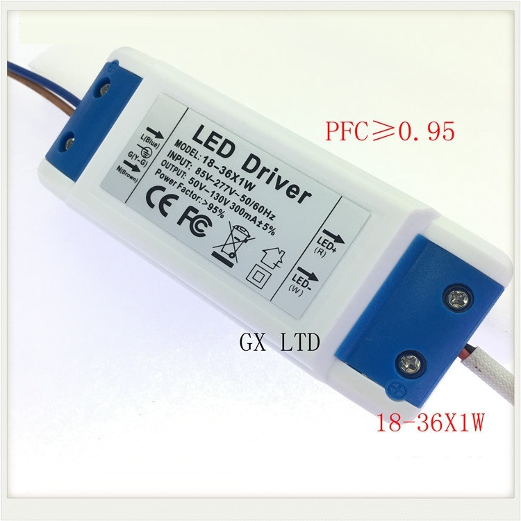 Ceiling lamp LED Driver power supply 18-36X1W input AC 85-265V output DC 54V-120V/300MA±5%