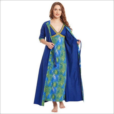 Ladies Blue Color Nighty Robe