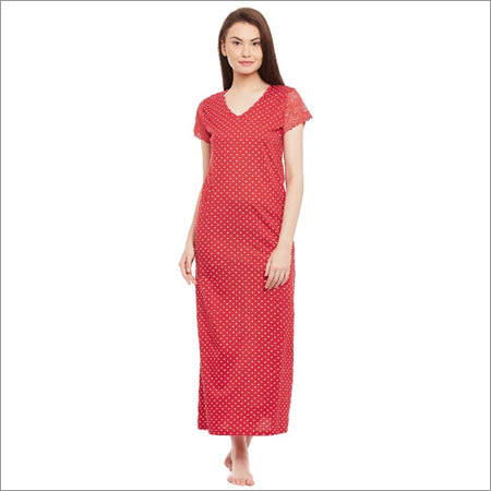 Ladies Dotted Printed Red Nighty