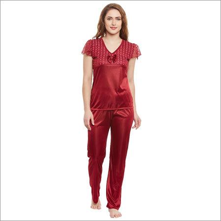 Ladies Maroon Color Night Suit