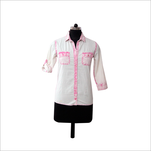 White And Pink Cotton Shirt