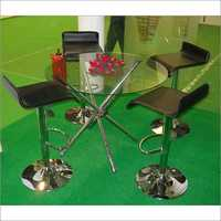 Round Glass Table & Barstool Chair