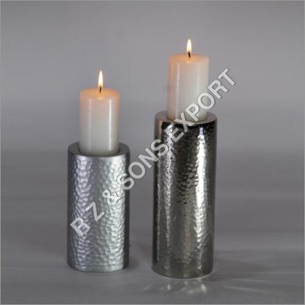 Hammered Aluminium Candle Pillar