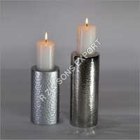 Hammered Aluminium Candle Pillar