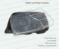 4 Partition Meal Tray Black (O)