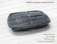 3 Partition Meal Tray Black