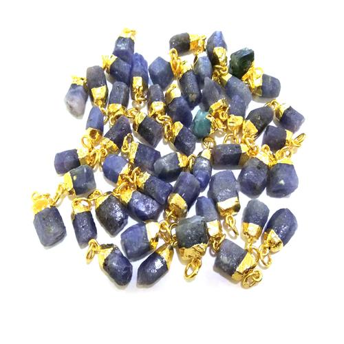 Raw Blue Sapphire Gold Cap Gemstone Pendant