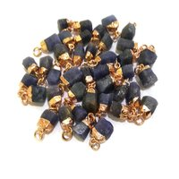 Blue Sapphire Gold Electroplated Cap Rough Gemstone Pendant - September Birthstone Pendant