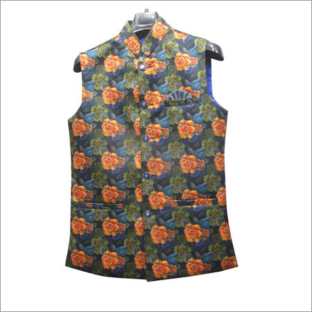 Mens Floral Print Waistcoat