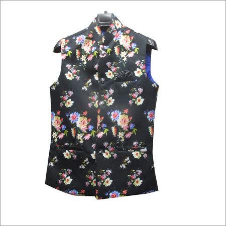 Mens Flower Print Designer Waistcoat