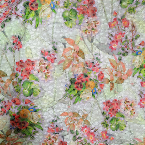 Embroidered Digital Print Fabric