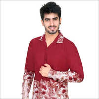 Maroon Printed Full Sleeve Casual Shirt