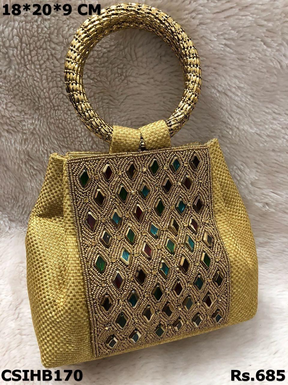 Jute Stone work handbag