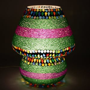 Multicoloured Beads Decorated Dome Shaped Glass Table Lamp