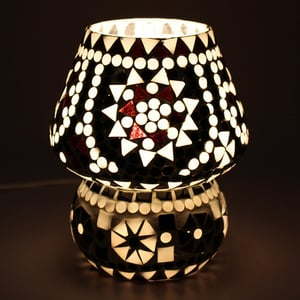 White Coloured Crystal Dome Shaped Glass Table Lamp