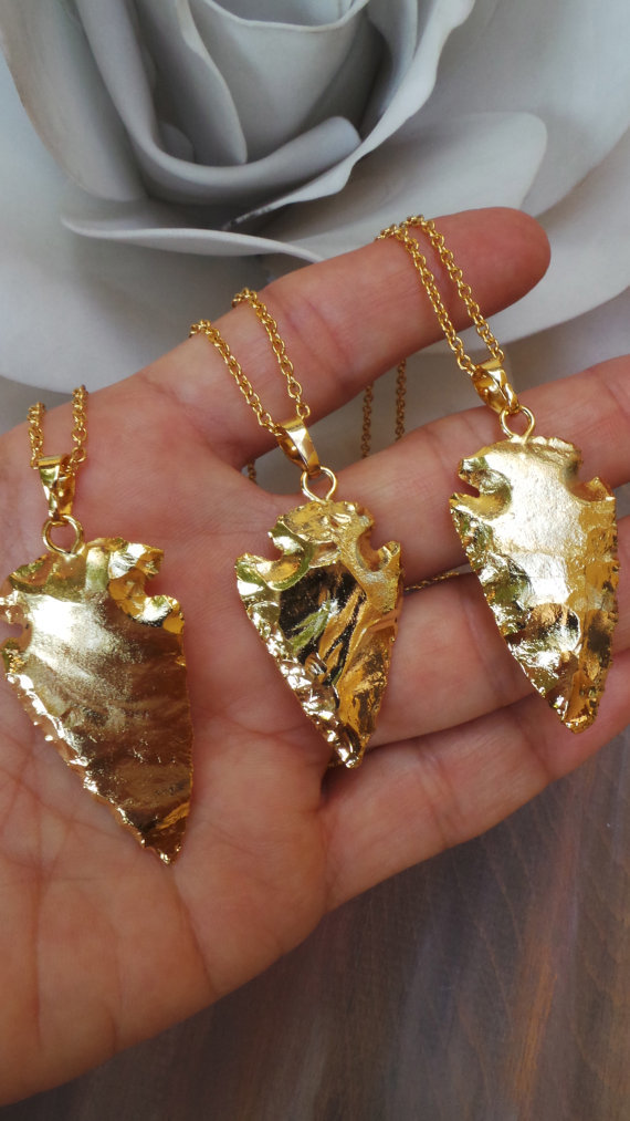 Full Gold Plated Arrowhead Pendant Necklace