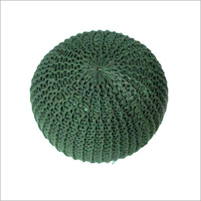 Knitted Green Poufs