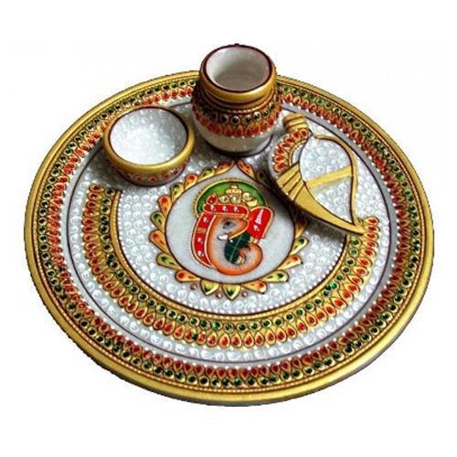 Marble Ganesh Pooja Thali