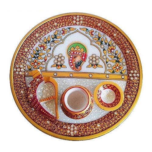 Marble Ganesh Golden Painting Pooja Thali