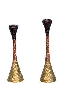 Hammered Embossed 3 Tone Candle Holder (Set Of 2)