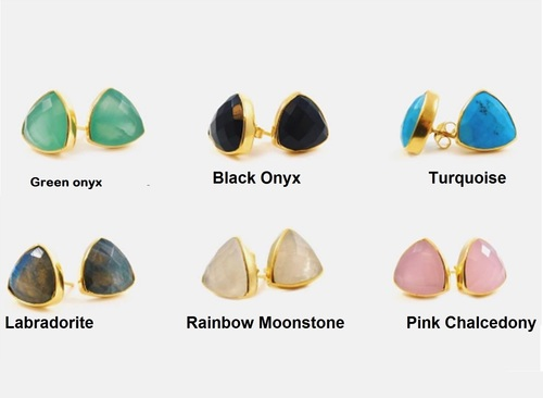 Gemstone Trillion Stud Earring - Gold Plated Gemstone Earrings For Women