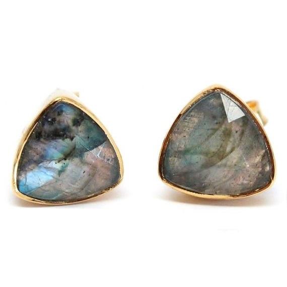 Gemstone Trillion Stud Earring - Gold Plated Gemstone Earrings For Women