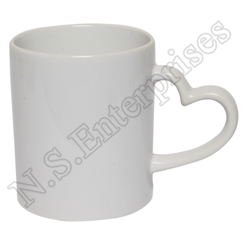 White Heart Handle Mug