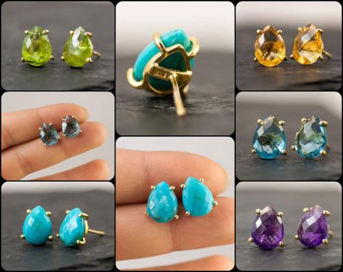 Pear Shape Gemstone Prong Stud Earring - Gold Plated Gemstone Earrings For Women