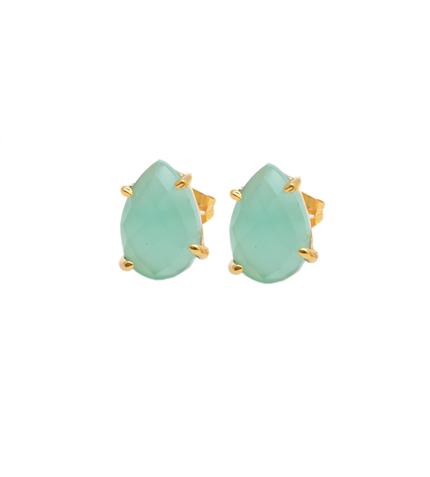 Pear Shape Gemstone Prong Stud Earring - Gold Plated Gemstone Earrings For Women