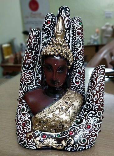 Hand Painted Resin Palm Buddha