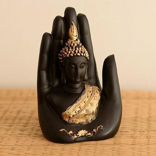 Palm Buddha Statue Polyresin