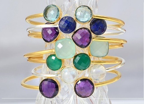 Gold Plated Gemstone Adjustable Size Bracelet