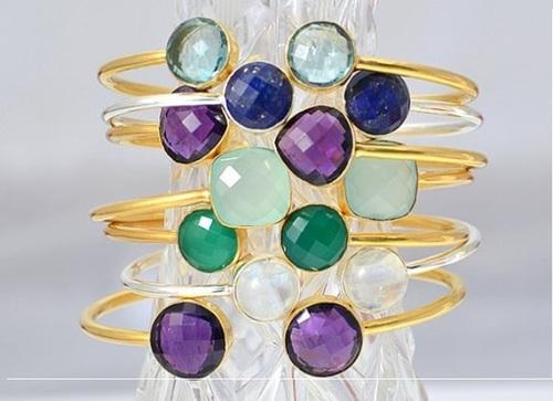 Gold Plated Gemstone Adjustable Size Bracelet
