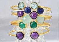 Gold Plated Gemstone Adjustable Size Bracelet - Two Stone Bracelet For Women