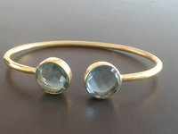 Gold Plated Gemstone Adjustable Size Bracelet - Two Stone Bracelet For Women